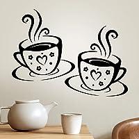 Vasos adhesivos de vinilo para pared, cocina, café, decoración de azulejos, color negro, decoración de té, café, hogar…