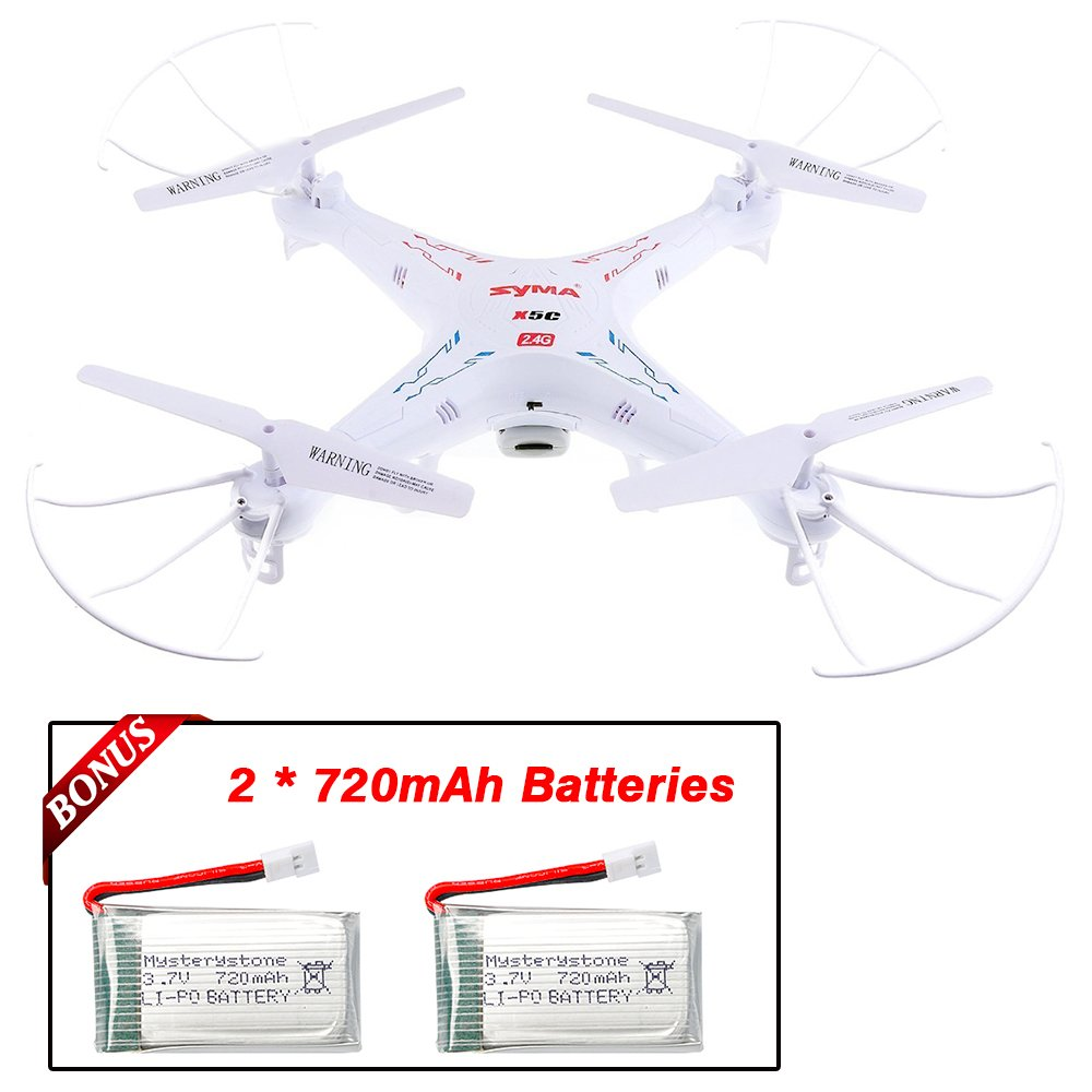SYMA X5C Mysterystone 1 RC Quadcopter with Extra 2 720mAh Li-Po 4 Rotating Blade, 4-in-1 Battery Charger, 4G Micro SD Card