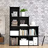 9-Cube Modular DIY Storage Cube Organizer by Tespo 4 tier Shelving Bookcase Cabinet Closet Black (9 - Regular Cube)