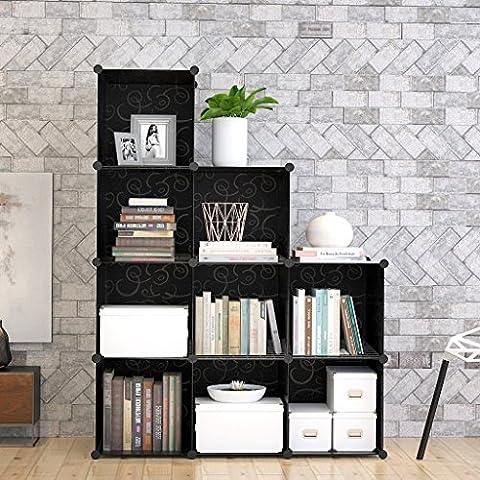 9-Cube Modular DIY Storage Cube Organizer by Tespo 4 tier Shelving Bookcase Cabinet Closet Black (9 - Regular - Modular Office Storage