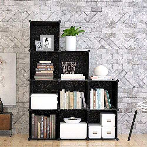 9-Cube Modular DIY Storage Cube Organizer by Tespo 4 tier Shelving Bookcase Cabinet Closet Black (9 - Regular Cube) (Bookcase Cabinets)