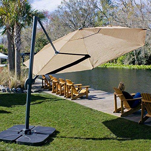 Coolaroo Cantilever Umbrella, Freestanding Patio Shade Umbrella, 90% UV Block, Round 12', Smoke (Wayfair Umbrella Patio)
