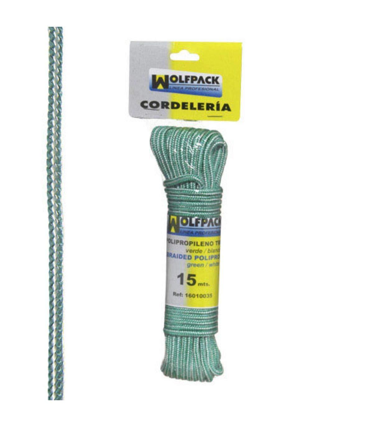 Color Blanco y Verde Polipropileno, madeja 15 m Wolfpack 16010035 Cuerda Trenzada
