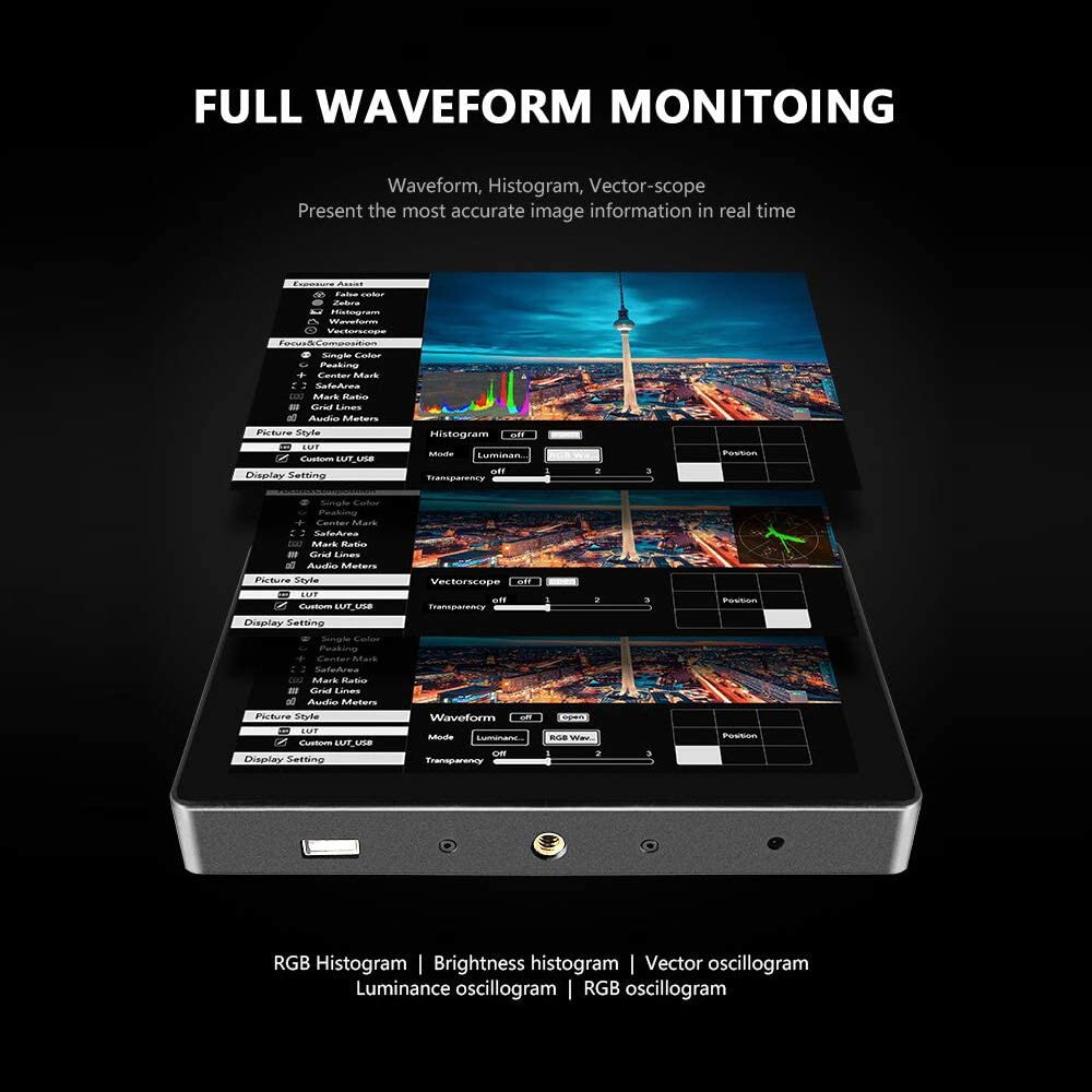 RuleaxAsi R7 Professional Video On-Camera Field Monitor 7 Inch Touchscreen HD Display Screen Resolution 19201200 HD 4K Input /& Output Video Assistant for Canon C100//ESO R//5D Mark Ⅳ Sony FD/&//A7R Ⅱ