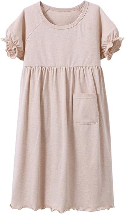 da2521b71e MZLIU Girls Kids Summer Short Sleeve Organic Cotton Nightgown Sleepwear  Pajamas(3y-13y)