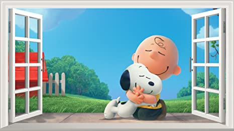 Chicbanners Cacahuetes película Charlie Brown y Snoopy V001 Magia Ventana Pared Adhesivo Adhesivo póster de Pared