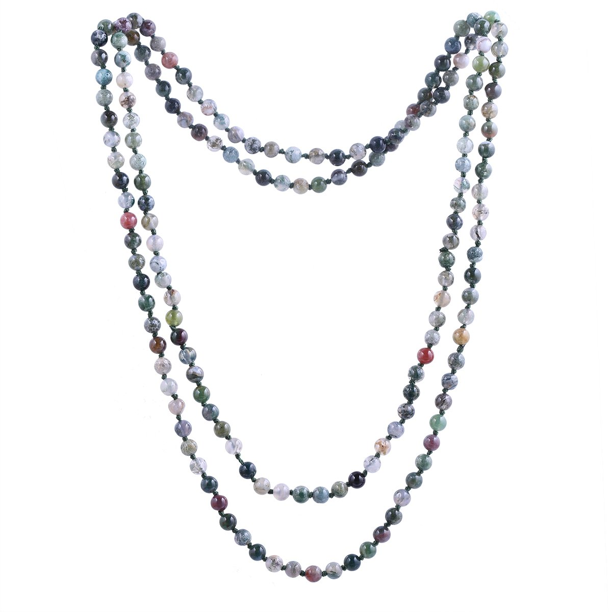 Qitian 6mm India Agate Beads Necklace Women Handmade Long Necklace Stone Beads Necklaces 47''