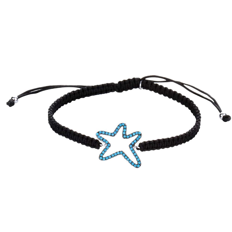 DVANIS 925 Sterling Silver Starfish Turquoise Beads Black Rope Beads Bracelet