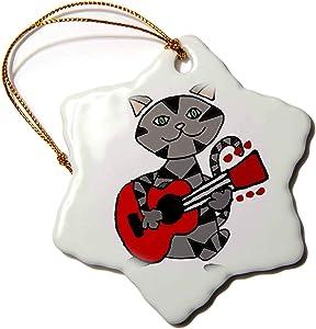 3dRose Funny Cute Grey Tabby Cat Playing Guitar Cartoon Snowflake Ornament, 3