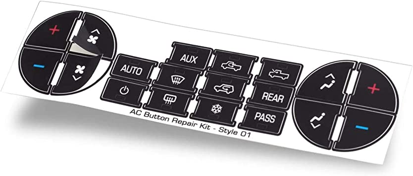 OxGord AC Dash Button Repair Kit - Original Design & Made in USA - Best for Fixing Ruined Faded A/C Control Buttons - Decal Replacement Fits Select 07-14 GM Vehicles - Car SUV Van Truck Accessories
