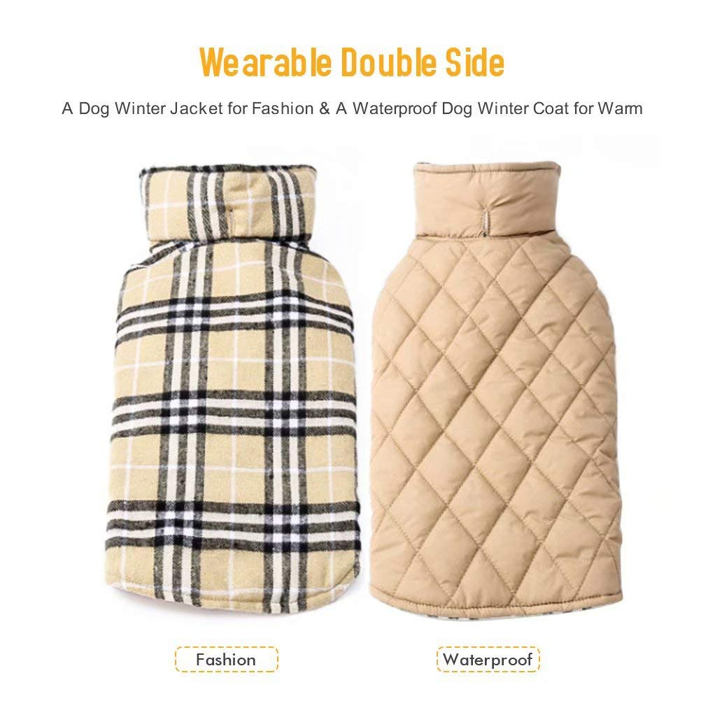 EDUPLINK Waterproof Windproof Dog Vest Winter Coat Warm Dog Apparel Cold Weather Dog Jacket Velcro Design S - XXL Better Fit for Small/Medium/Large Dogs Winter British Style Beige/Green/Red Plaid