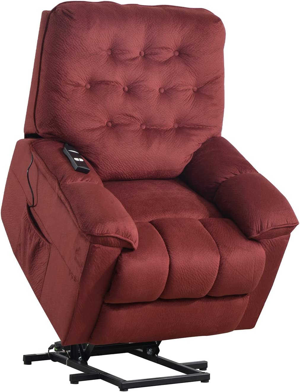 Merax Power Lift Recliner Chair Lazy Sofa for Elderly, Heavy-Duty Fuction with Remote Control, Office or Living Room, Red