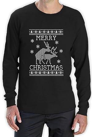 Reindeer Humping ugly christmas sweater Long Sleeve T-Shirt ...