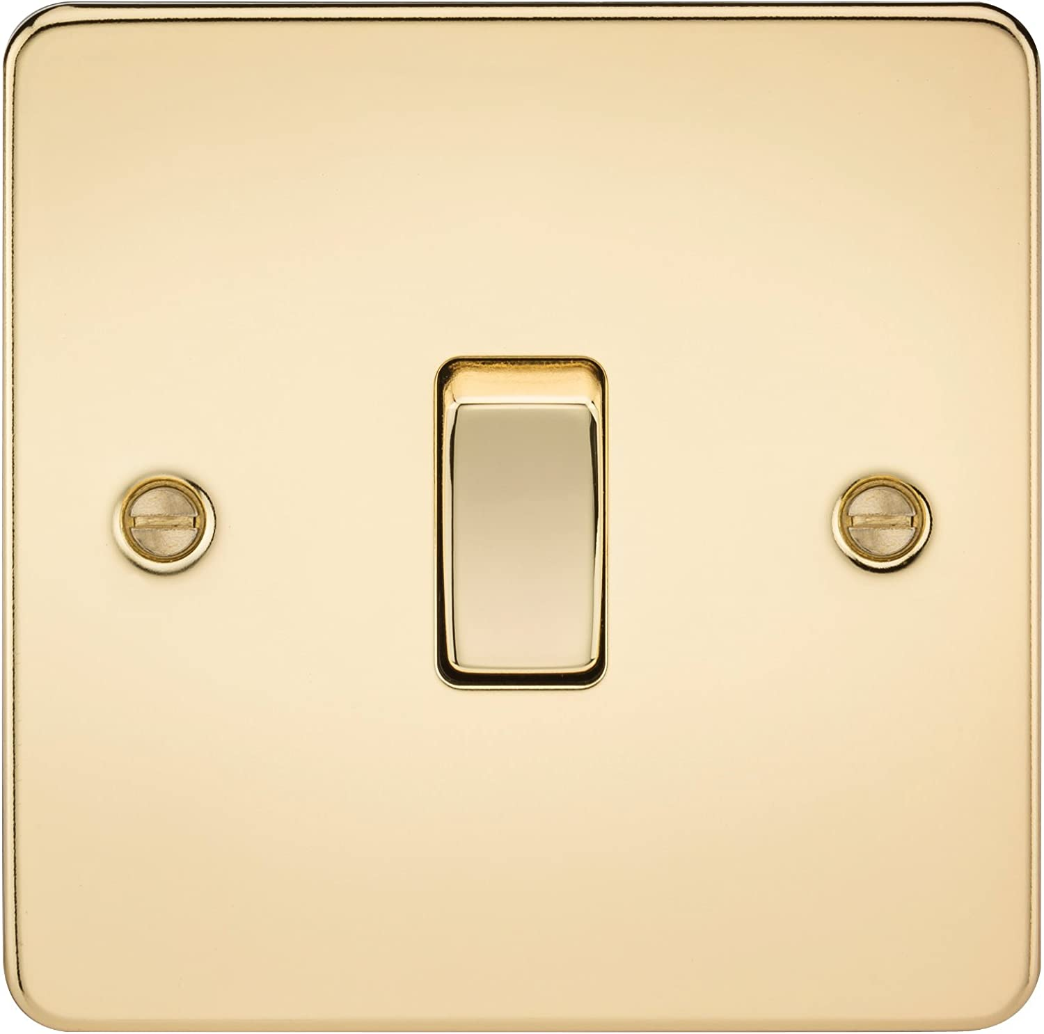 230 V Knightsbridge FP6300NBB Brushed Brass FPAV6300NBB Flat Plate 13A Switched Fused Spur Unit with Neon