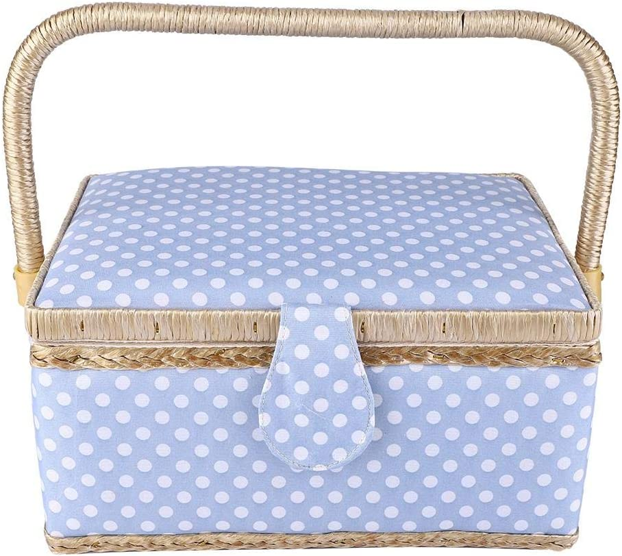 LARGE Sewing Box Fabric Sewing Basket with Handle /& Tray Denim Polka Dot