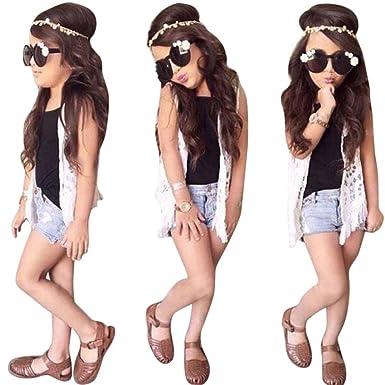 e52faf8cc71a DaySeventh Toddler Kids Girls Cute Outfit Clothes Set Lace Cardigan Vest  Short Pants (