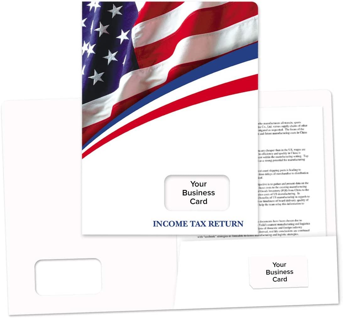 Tax Return Folder American Flag Design – 50 Pack