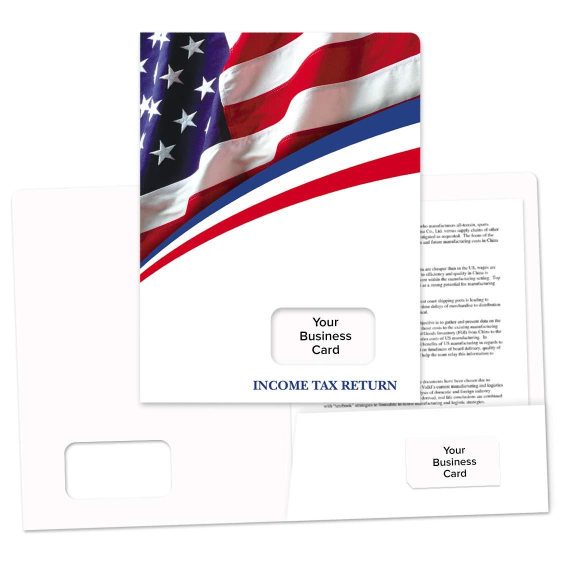 Tax Return Folder American Flag Design - 50 Pack