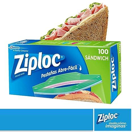 abc3e1395 Ziploc Bolsas Herméticas para Sandwich, 100 Bolsas: Amazon.com.mx: Salud,  Belleza y Cuidado Personal