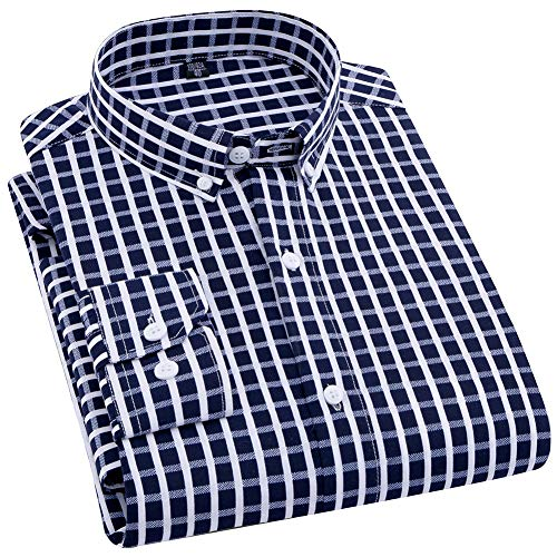 ERZTIAY Men's Classic Casual Vertical Striped Slim Fit Long Sleeve Dress Shirts(Navy Blue/White Check, Medium)