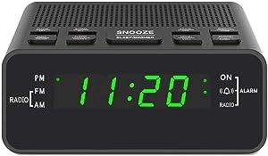 "Alarm Clock, Digital Alarm Clock Radio with AM/FM Radio, Sleep Timer, Dimmer, Snooze and 0.6"" LED Display for Bedrooms (Black-Green)"