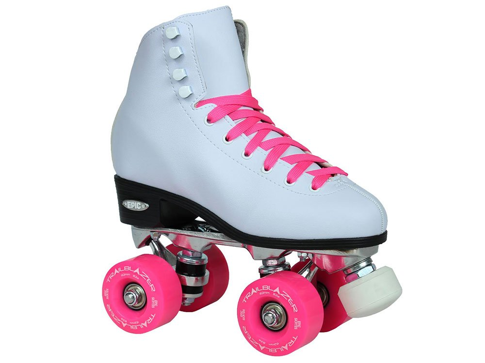 Epic Skates Classic High-Top Quad Roller Skates with Pink Wheels