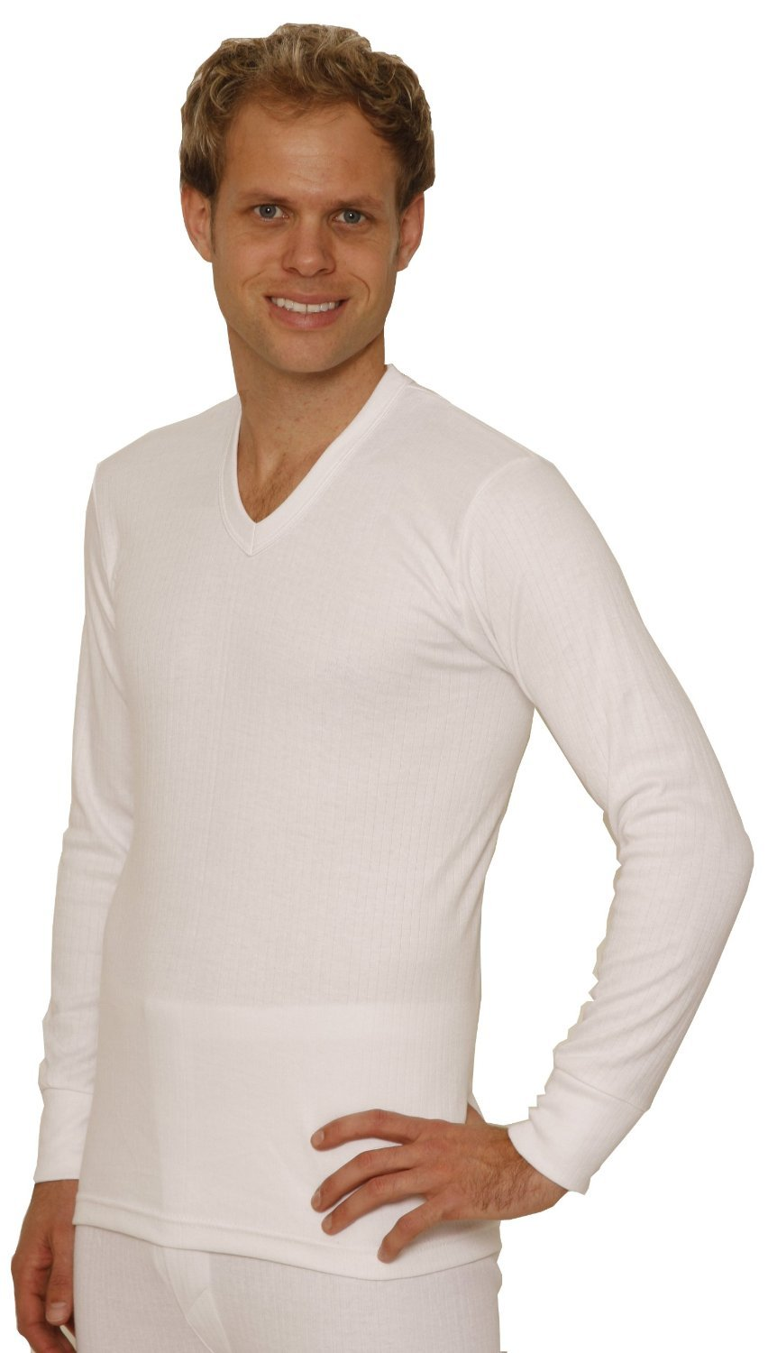 Octave 2 Pack Mens Thermal Underwear Long Sleeve 'V'-Neck T-Shirt/Vest/Top (Small: Chest 32-34 inches, White)