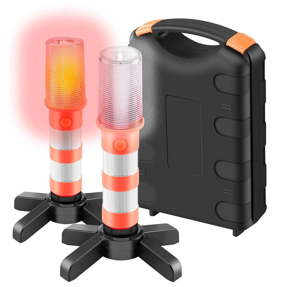 Luce di Segnalazione a LED Rossa per Auto LED Rosso e Bianco con 3 modalit/à di Pronto Soccorso 2 Pezzi segnalatore di Avvertimento con calamita