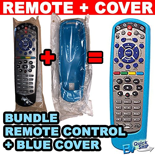 Bundle   Dish Network Remote Control And Rubber Protective Skin  Blue  Controls Tv 1 Or Tv 2 Uhf Ir Compatible