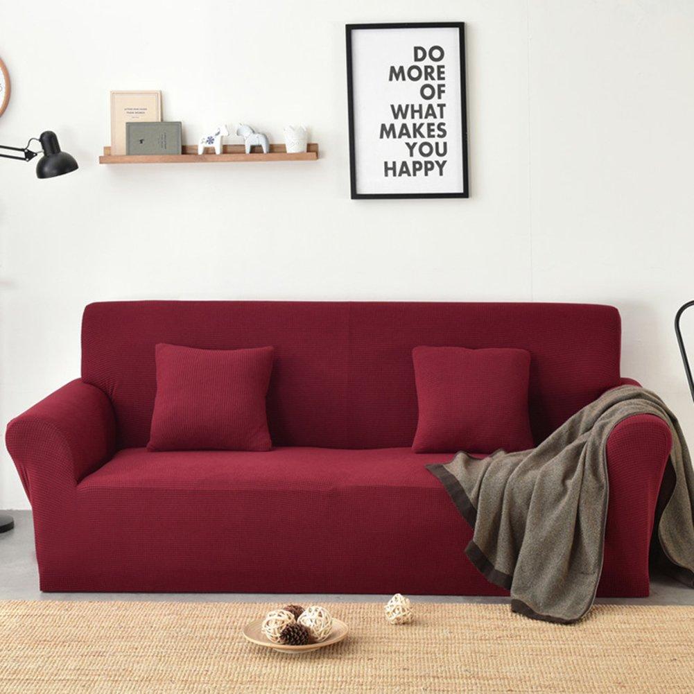 MAXWOW Elastischer sofabezug, Anti-rutsch Gesteppter 1-stück Polyester Spandex All-Inclusive-Couch Sofaschutz Für Haustiere-Weinrot 4 Sitzer
