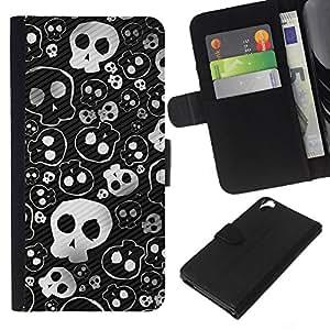 KLONGSHOP // Tirón de la caja Cartera de cuero con ranuras para tarjetas - Cráneo lindo fresco del metal Diseño Punk Muerte - HTC Desire 820 //