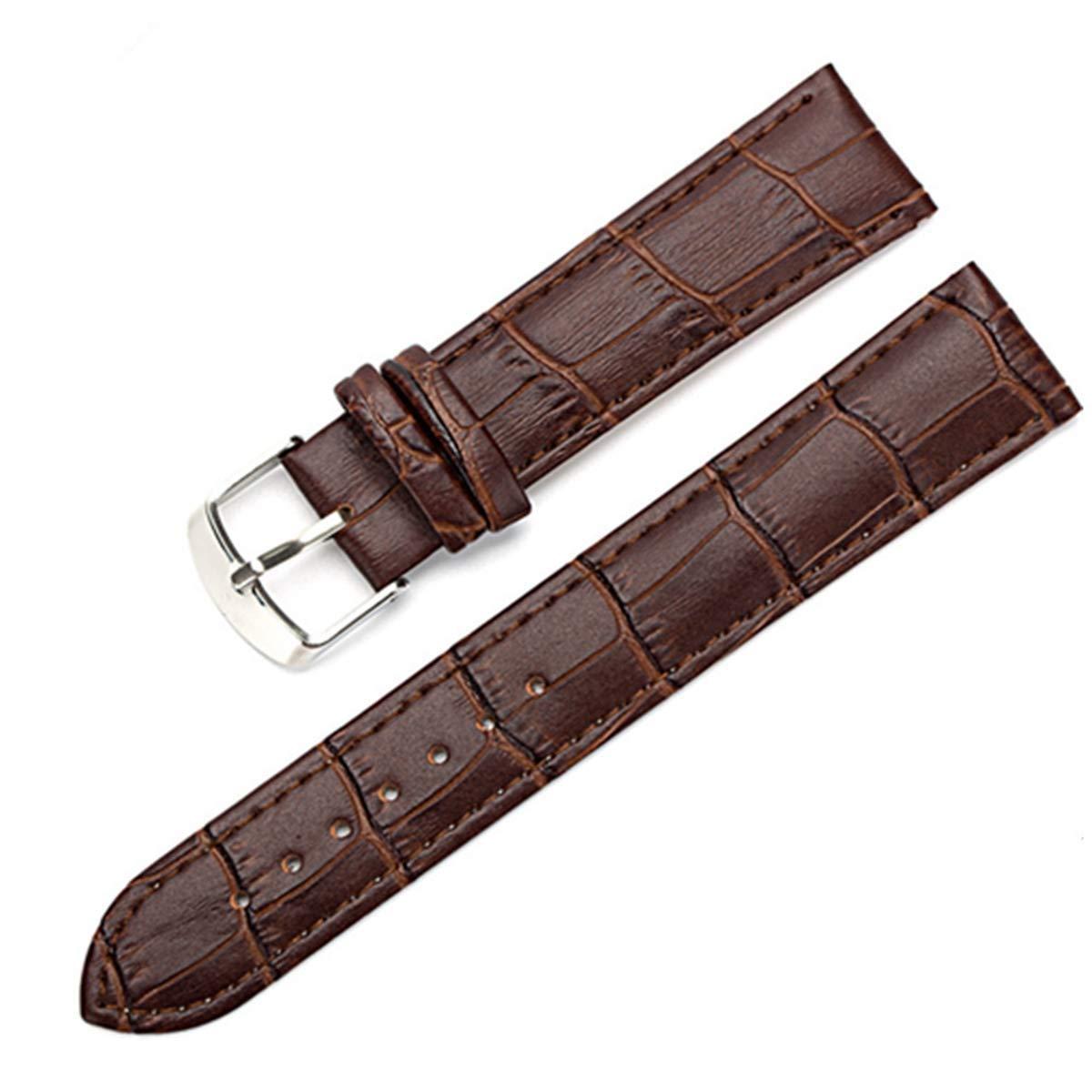 8 10 15 16 18 19 20 mm läder klockarmband klocka bälte rem armbandsur band kvinna röd vit svart för män och kvinnor Svart