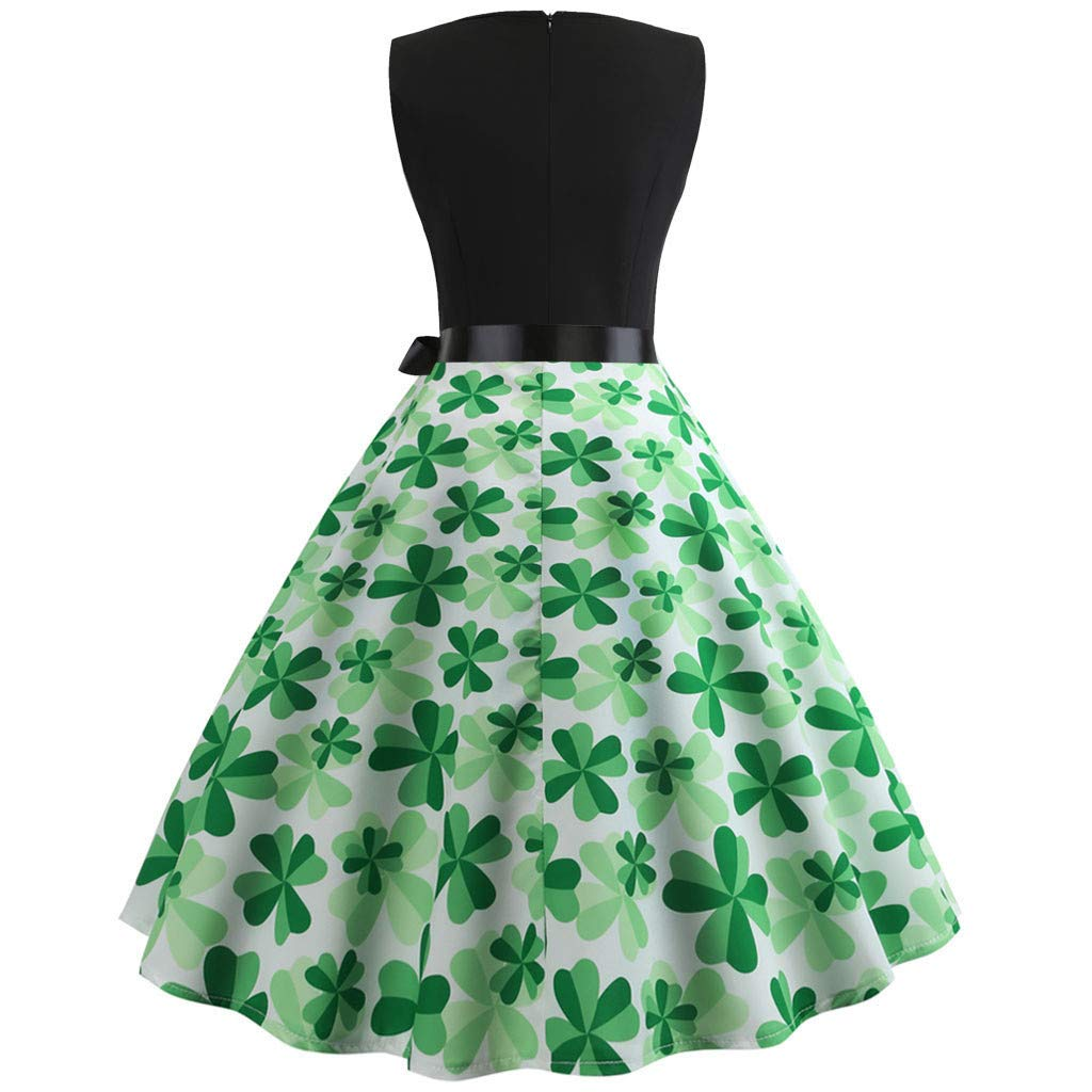 f6635aec13 Amazon.com: St. Patrick's Day Swing Dress Women Floral Sleeveless Shamrock Evening  Party Cocktail Dress Elegant Pencil Midi Dress: Clothing