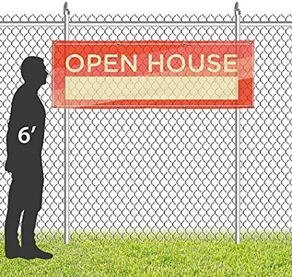 Open House CGSignLab 12x4 Modern Diagonal Wind-Resistant Outdoor Mesh Vinyl Banner