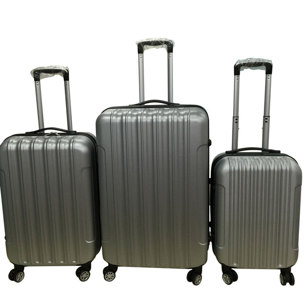 3PCS Luggage Travel Set Bag ABS Trolley Hard Shell Suitcase w/TSA lock Grey