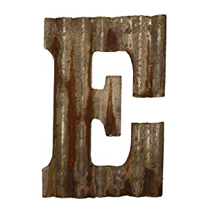 "Farmhouse Rustic 12"" Wall Decor Corrugated Metal Letter -E"