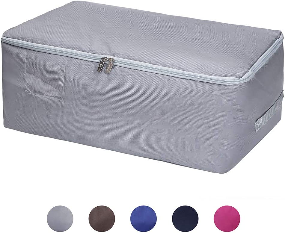 DOKEHOM Large Underbed Clothes Storage Bag with Zip (5 Colors), Moisture proof (Grey, L(22x13.8x9.8 Inches))