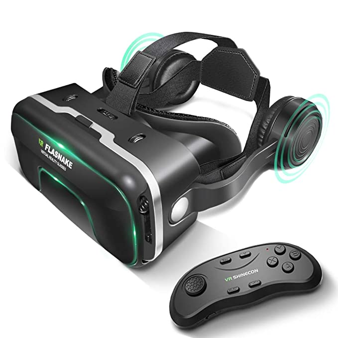 583f7f626100 FLASNAKE 3D VR Headset with Remote Controller Virtual Reality Glasses for 3D  Movies VR Games with