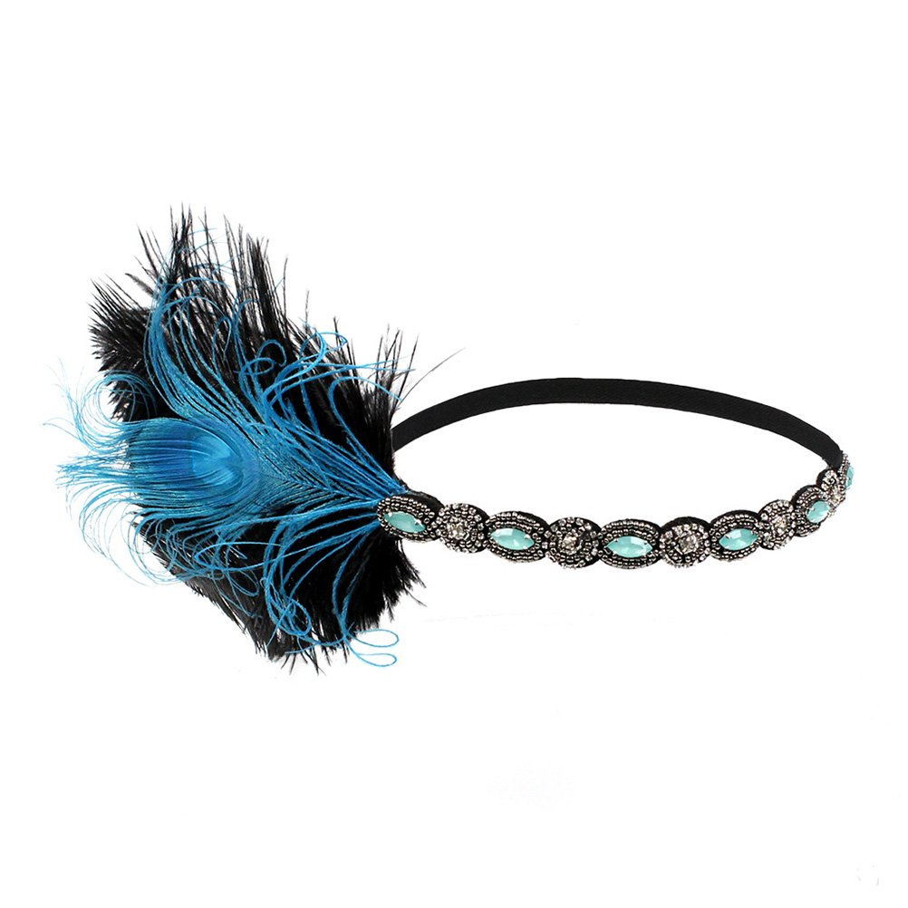 LUOEM Plumes Bandeau Gatsby Flapper des Années 20 Bande Paillette Strass pour Femme (Bleu)