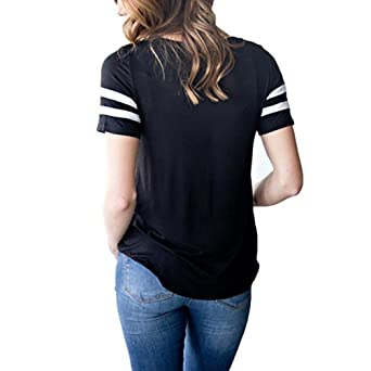 Amazon.com: Blouse for Womens, FORUU Criss Cross Front V Neck Patchwork Short Sleeve T Shirt: Clothing