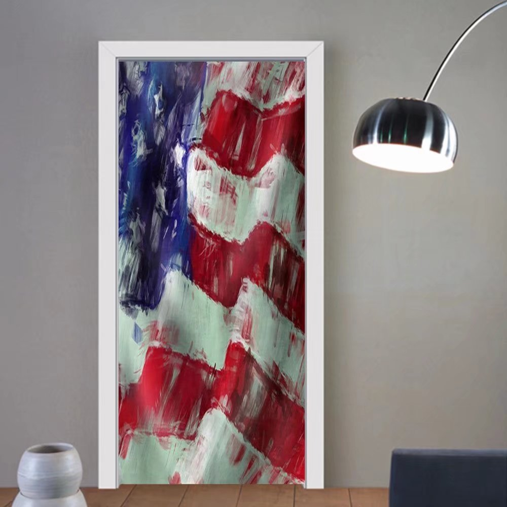 Niasjnfu Chen custom made 3d door stickers Usa Flag Abstract Painting Background Fabric Home Decor For Room Decor 30x79