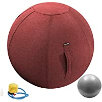 Guken Sitting Ball Chair with Cover, Exercise Yoga Ball for Office and Home Muscle Training Fitness,65cm/75cm Workout…