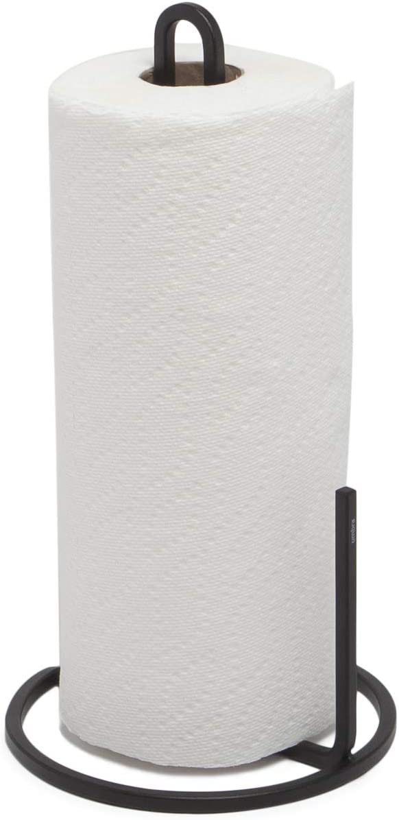Umbra Squire Paper Towel Holder Stand, Metal Dispenser for Kitchen or Bathroom Countertop, Black