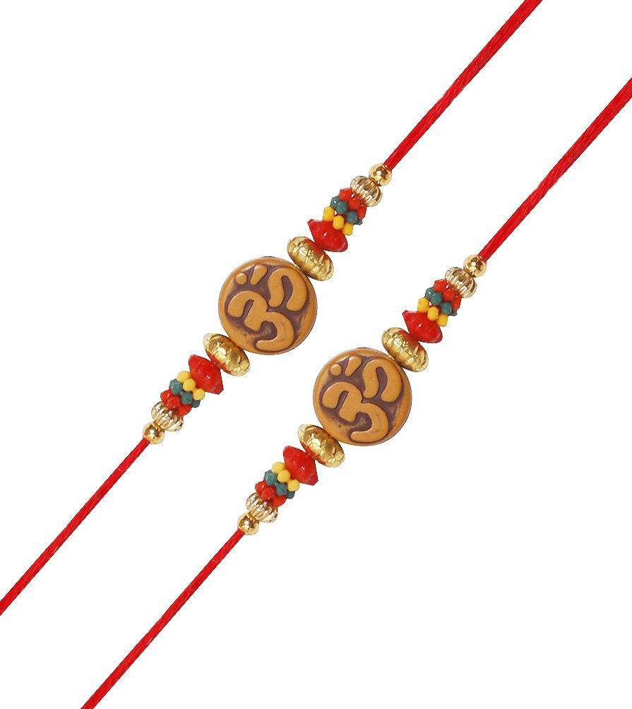 Set of 2 OM Rakhi for Brother Raksha Bandhan Traditional Colorful Beads Rakhee for Kids Indian Hindu Festival Artisenia