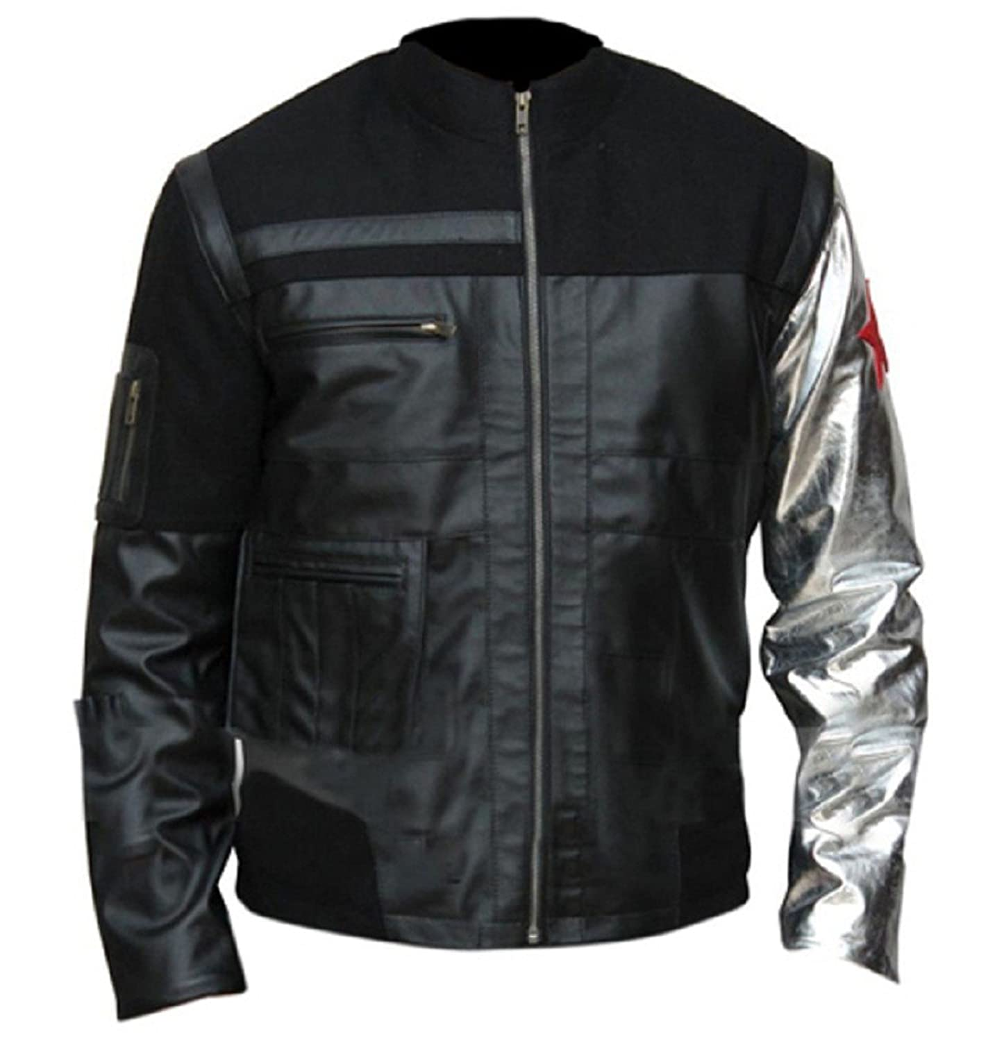 Captain America: Civil War Adult Bucky Barnes Red Star Silver Sleeve Real Leather Jacket - DeluxeAdultCostumes.com