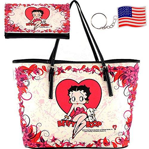 key B5-2)-Betty Boop Large Tote Handbag & Wallet (Betty Boop Large Tote)