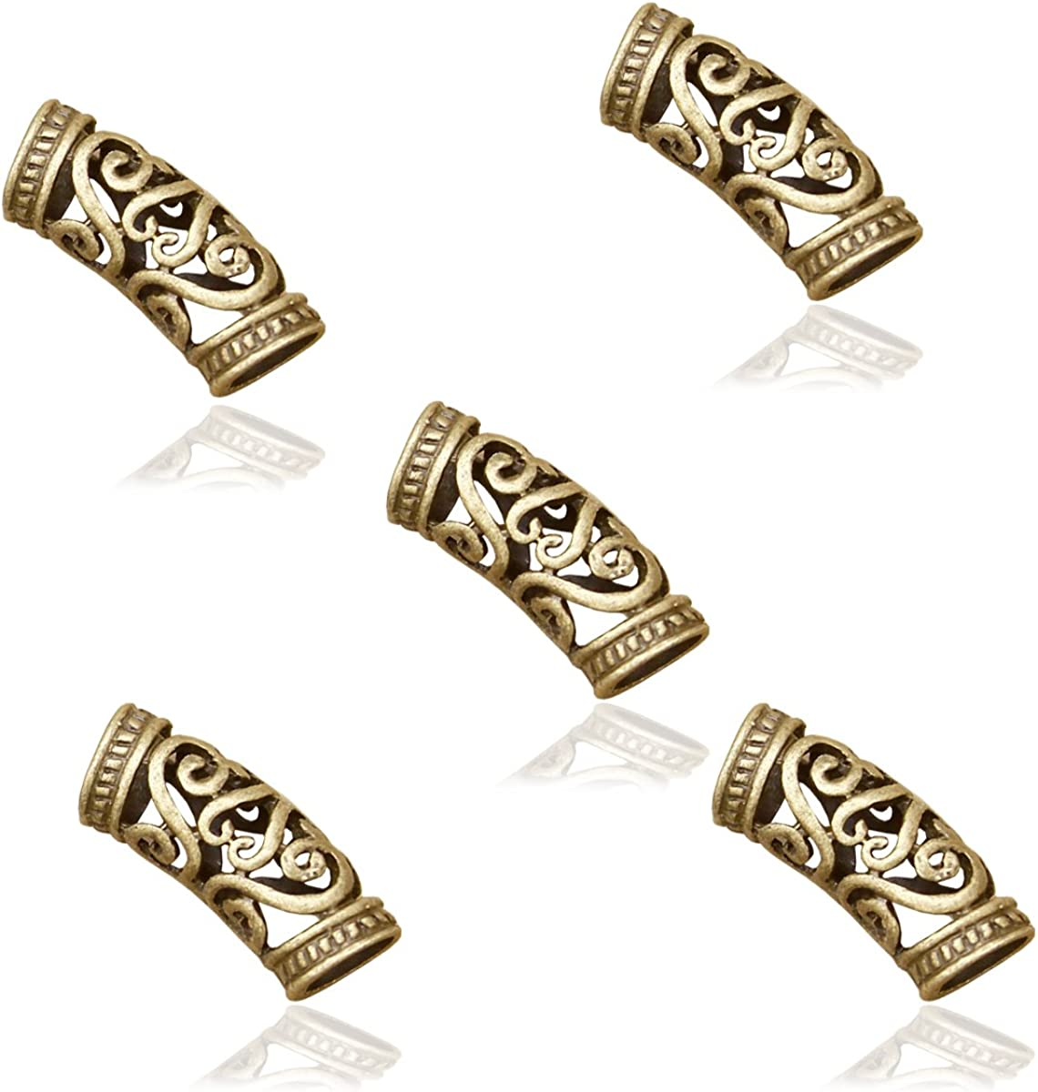 Set Of 5 A Norse Dread Beads Dreadlock Hair  Beard Beads 57mm Hole Viking Beads Stainless Steel 316-932 Inch
