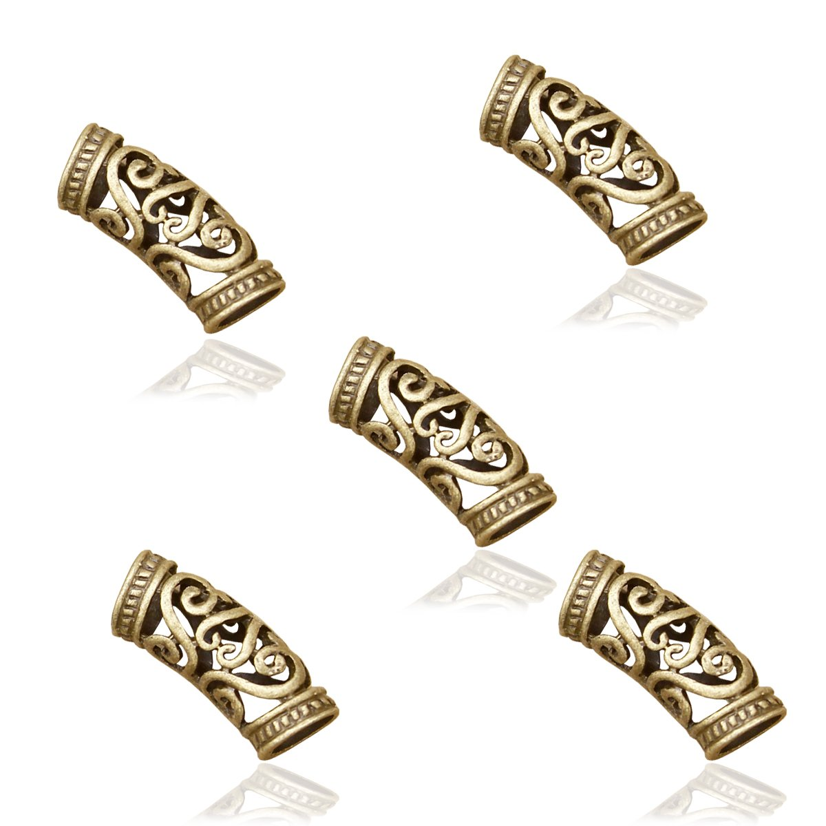 RechicGu Pack 5 Norse Viking Swirl Beard Bead Rasta Dreadlocks Braid Head Hair Dress Clip Pin 81509