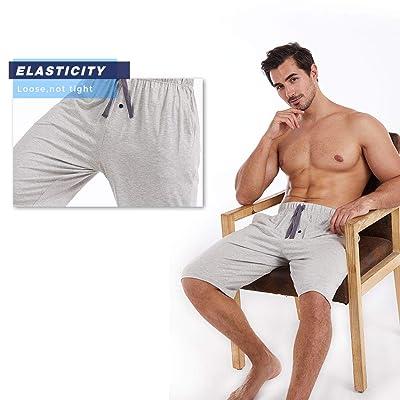 Ham/&Sam Men/'s Pajama Shorts Bamboo Jersey Knit Mens Shorts Soft Breathable Sleep Lounge Bottom with Pockets 2 Pack