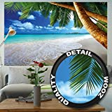 Sandy Beach with Palm Trees and the Sea Photo Wallpaper - Paradise Beach and Palm Trees Mural - Xxl Beach Wall Decoration